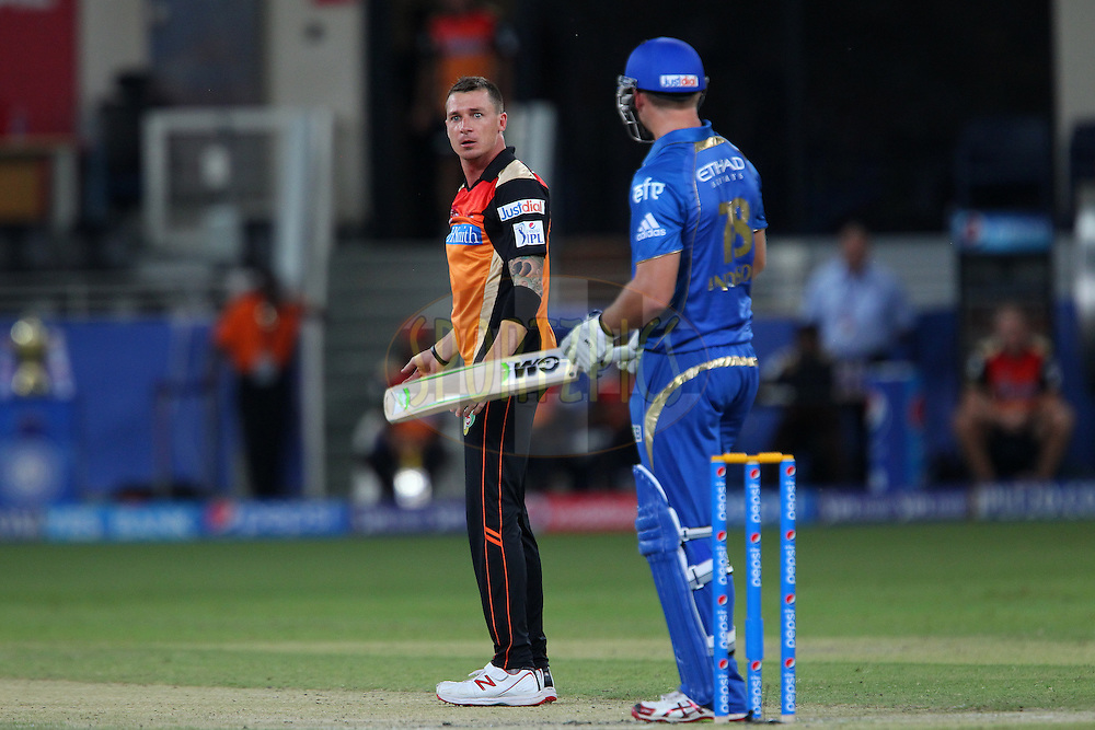 Dale Steyn of the Sunrisers Hyderabad reacts after an unsuccessful appeal for the wicket of Corey Anderson of the Mumbai Indians during match 20 of the Pepsi Indian Premier League Season 2014 between the Mumbai Indians and the Sunrisers Hyderabad held at the Dubai International Stadium, Dubai, United Arab Emirates on the 30th April 2014<br /> <br /> Photo by Ron Gaunt / IPL / SPORTZPICS