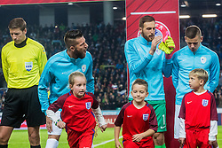 Bostjan Cesar of Slovenia, Jan Oblak of Slovenia and Roman Bezjak of Sloveniaduring football match between National teams of Slovenia and England in Round #3 of FIFA World Cup Russia 2018 qualifications in Group F, on October 11, 2016 in SRC Stozice, Ljubljana, Slovenia. Photo by Grega Valancic / Sportida
