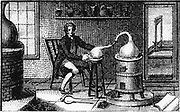 Antoine Laurent Lavoisier (1743-1794) in his laboratory. [1814]. Lavoisier, French chemist is at a distillation furnace and through the open door can be seen the guillotine, a reminder that he was executed during the French Revolution. From 'Encyclopedia Londinensis'. (London, 1814). Engraving.