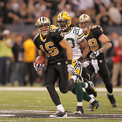 2008 November, 24: New Orleans Saints wide receiver Lance Moore (16) sprints away from Green Bay Packers safety Atari Bigby (20) on his way to a touchdown during the first half of a Monday Night Football game between the Green Bay Packers and the New Orleans Saints at the Louisiana Superdome in New Orleans, LA.