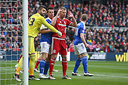 Middlesbrough forward Jordan Rhodes (9)  waiting for the corner during the Sky Bet Championship match between Middlesbrough and Ipswich Town at the Riverside Stadium, Middlesbrough, England on 23 April 2016. Photo by Simon Davies.
