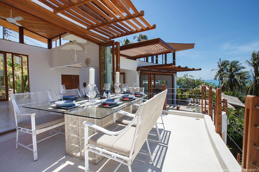 Outdoor dining area, Villa Kya, a luxury, private villa located in the hills of Bophut, Koh Samui, Thailand