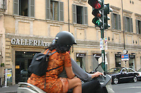 Travelling by moped in Rome, Italy<br />