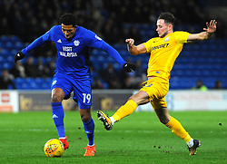 Nathaniel Mendez-Laing of Cardiff City under pressure from Alan Browne of Preston North End- Mandatory by-line: Nizaam Jones/JMP - 29/12/2017 -  FOOTBALL - Cardiff City Stadium - Cardiff, Wales -  Cardiff City v Preston North End - Sky Bet Championship