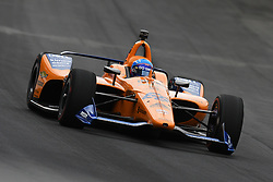 May 19, 2019 - Indianapolis, IN, U.S. - INDIANAPOLIS, IN - MAY 19: IndyCar driver Fernando Alonso (66) of the McLaren Racing Chevrolet drives into turn one during the practice session for the IndyCar Series 103rd Indianapolis 500 on May 19, 2019, at the Indianapolis Motor speedway in Indianapolis, Indiana. (Photo by Michael Allio/Icon Sportswire) (Credit Image: © Michael Allio/Icon SMI via ZUMA Press)