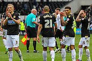 Bolton players applaud the travelling Wanderers' fans as they are relegated after the Sky Bet Championship match between Derby County and Bolton Wanderers at the iPro Stadium, Derby, England on 9 April 2016. Photo by Aaron  Lupton.