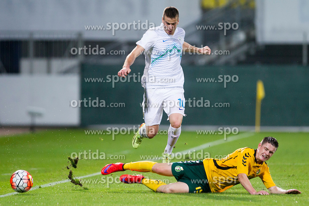 Domen Crnigoj #10 of Slovenia and Sigitas Urbys #19 of Lithuania during football match between U21 National Teams of Slovenia and Lithuania in 2nd Round of UEFA 2017 European Under-21 Championship Qualification on September 4, 2015 in Arena Petrol, Celje, Slovenia. Photo by Urban Urbanc / Sportida