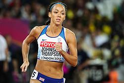 London, 2017 August 06. Katarina Johnson-Thompson in the the women's heptathlon 800m on day three of the IAAF London 2017 world Championships at the London Stadium. © Paul Davey.
