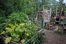 Fruit and vegetables and a home-built pizza oven are seen at the Stop HS2 Wendover Active Resistance Camp on 17th July 2020 in Wendover, United Kingdom. Environmental activists from groups including Stop HS2 and HS2 Rebellion continue to protest against HS2, which is currently projected to cost £106bn and which will remain a net contributor to CO2 emissions during its projected 120-year lifespan, on environmental and economic grounds.