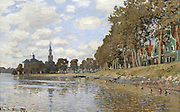 Zaandam', Holland, 1871.  Oil on canvas. Claude Money (1840-1926) French Impressionist painter. View across water towards church. On right, mature trees on a grassy embankment in front of row of houses.