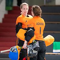 HAMBURG  (Ger) - 06  LMHC Laren v Club Campo de Madrid (Esp) (6-4)   foto: EJoyce Sombroek (Laren) with goalkeeper Karlijn Adank (Laren) Eurohockey Indoor  Club Cup 2019 Women . WORLDSPORTPICS COPYRIGHT  KOEN SUYK