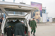 Afghanistan. Kabul. ahmad shah massoud poster at the entrance of kabul airport