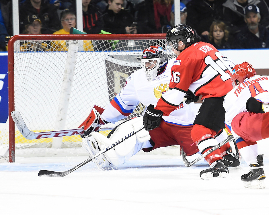 Max Domi of the London Knights represented Team OHL in Game 4 of the 2014 SUBWAY Super Series in Kingston, ON on Monday, Nov. 17, 2014. Photo by Aaron Bell/OHL Images