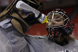Goalkeeper Robert Kristan at morning practice of Slovenian national team before match against Canada at Hockey IIHF WC 2008 in Halifax,  on May 02, 2008 in Metro Center, Halifax, Canada.  (Photo by Vid Ponikvar / Sportal Images)