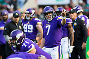 Minnesota Vikings Quarterback  Case Keenum (7) warms up during the International Series match between Cleveland Browns and Minnesota Vikings at Twickenham, Richmond, United Kingdom on 29 October 2017. Photo by Jason Brown.