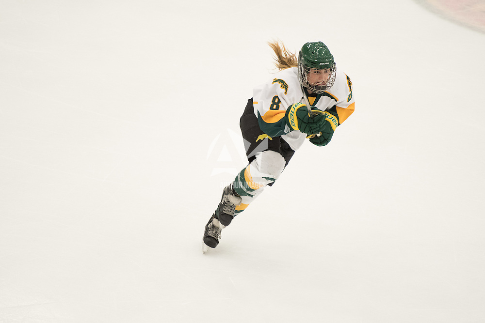 4th year forward Bailey Braden (8) of the Regina Cougars in action during the Women's Hockey home game on January 7 at Co-operators arena. Credit: Arthur Ward/Arthur Images