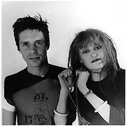 Exene Cervenka, of the band X. With John Doe, and in bathroom of the Masque.