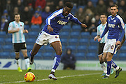 Chesterfield FC midfielder Gboly Ariyibi strikes the ball during the Sky Bet League 1 match between Chesterfield and Shrewsbury Town at the Proact stadium, Chesterfield, England on 2 January 2016. Photo by Aaron Lupton.