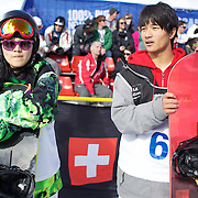 Xuetong Cai, China, (left), winner of the Ladies Half Pipe and Yiwei Zhang, China, second, in the Men's Half Pipe Finals in the LG Snowboard FIS World Cup, during the Winter Games at Cardrona, Wanaka, New Zealand, 28th August 2011. Photo Tim Clayton.....