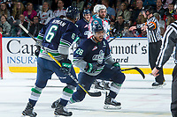 KELOWNA, CANADA - APRIL 25: Keegan Kolesar #28 of the Seattle Thunderbirds celebrates the tie breaking goal, his second of the night, with 20 seconds remaining on the clock securing the win against the Kelowna Rockets on April 25, 2017 at Prospera Place in Kelowna, British Columbia, Canada.  (Photo by Marissa Baecker/Shoot the Breeze)  *** Local Caption ***