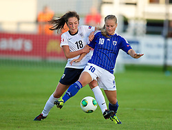 28.08.2013, Richmond Park, Carmarthen, ENG, UEFA Damen U19 EM, England vs Finnland, im Bild England's Katie Zelem in action against Finland's Julia Tunturi during the Semi-Final match of the UEFA Women's Under-19 Championship Wales 2013 tournament at Richmond Park. during the UEFA women U 19 championchip group A match between England and Finland at Richmond Park in Carmarthen, Great Britain on 2013/08/28. EXPA Pictures © 2013, PhotoCredit: EXPA/ Propagandaphoto/ David Rawcliffe<br /> <br /> ***** ATTENTION - OUT OF ENG, GBR, UK *****