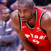 01 November 2017: Toronto Raptors forward Serge Ibaka (9) rests during the Denver Nuggets 129-111 victory over the Toronto Raptors, at the Pepsi Center, Denver, Colorado, USA.