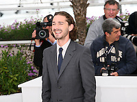 Shia Labeouf at the Lawless film photocall at the 65th Cannes Film Festival. The screenplay for the film Lawless was written by Nick Cave and Directed by John Hillcoat. Saturday 19th May 2012 in Cannes Film Festival, France.