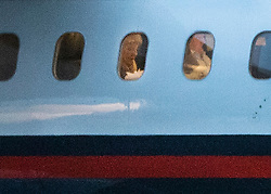 © Licensed to London News Pictures. 11/03/2019. London, UK. Prime Minister Theresa May is seen onboard her RAF flight from Northolt where, it is thought, she is flying to Strasbourg for last minute talks with EU leaders ahead of tomorrow's crucial Brexit withdrawal vote in Parliament. Photo credit: Peter Macdiarmid/LNP