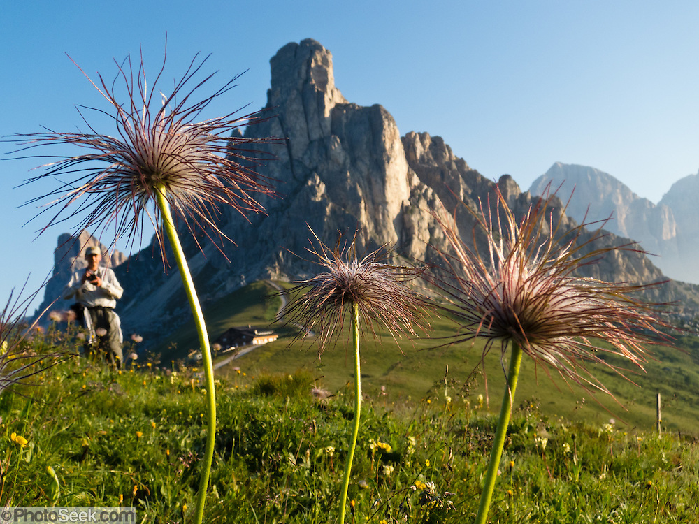 At sunrise, from Gasthaus Passo di Giau (2236 meters), explore scenic trails of the Dolomites (Dolomiti, a part of the Southern Limestone Alps), northern Italy, Europe. The Dolomites were declared a natural World Heritage Site (2009) by UNESCO.