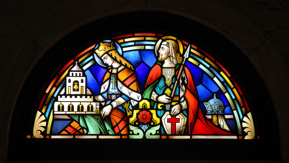 Stained glass image depicting St. Elizabeth of Portual and St. George from St. Francis Xavier Cathedral in Green Bay. (Photo by Sam Lucero)