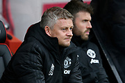 Manchester United manager Ole Gunnar Solskjaer looks concerned during the Premier League match between Bournemouth and Manchester United at the Vitality Stadium, Bournemouth, England on 2 November 2019.