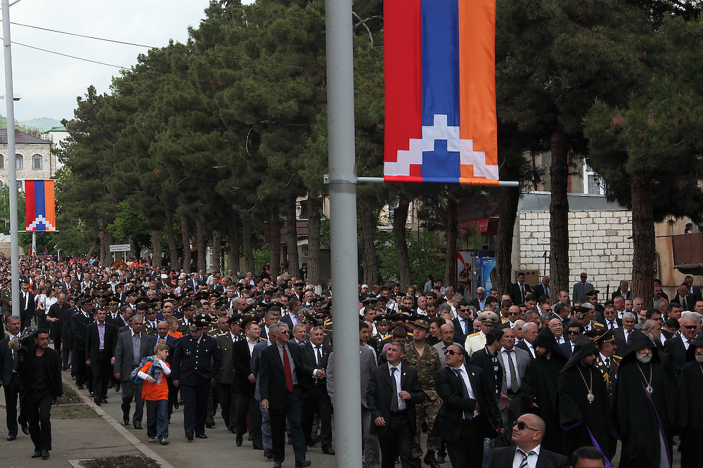 The annual Remembrance walk through Stepanakert to the Cemetery, to recognise the fallen soldiers; particularly those that died during the Nagorno-Karabakh War. The heads of the Artsakh State University, some of whom played important roles in the struggle for independence, started their walk from the University grounds.