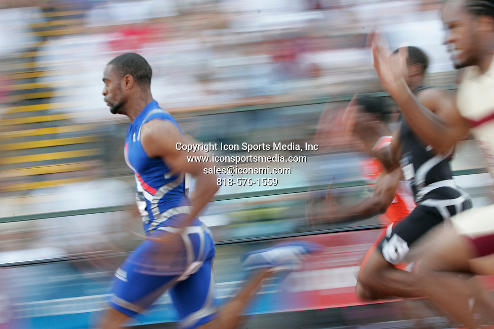 29 June 2008: Tyson Gay runs to the fastest time ever under any conditions to win the men's 100 meter final at the U.S. Olympic track and field trials at Hayward Field in Eugene, Oregon.