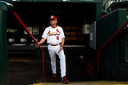 Manager Mike Shildt (8) of the Springfield Cardinals stands on the dugout steps prior to a game against the Northwest Arkansas Naturals at Hammons Field on August 23, 2013 in Springfield, Missouri. (David Welker)