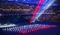 07.02.2014, Olympiastadion Fischt, Adler, RUS, Sochi 2014, Eröffnungsfeier der XXII. Olympischen Winterspiele, im Bild Showprogramm - Russische Flagge aus LED Lichtern // Show program - Russian flag made of LED lights from marshalls during the Opening Ceremony of the Olympic Winter Games Sochi 2014 at the Fisht Olympic Stadium in Adler, Russia on 2014/02/07. EXPA Pictures © 2014, PhotoCredit: EXPA/ Johann Groder