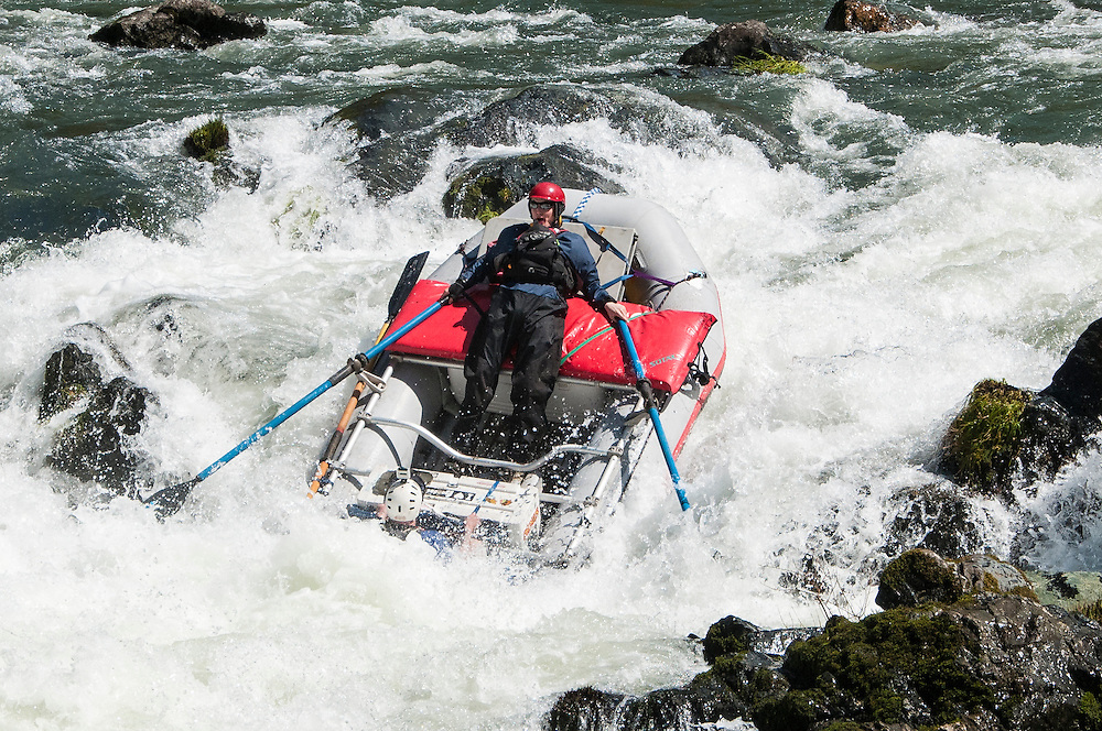 Alek and Tom take the raft through Rainie Falls on the Wild and Scenic Rogue River in southern Oregon.