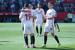January 26, 2019 - Sevilla, Andalucia, Spain - Pablo Sarabia, Roque Mesa and Andre Silva celebrates the 4th goal from Sevilla FC during the La Liga match between Sevilla FC v Levante UD at the Ramon Sanchez Pizjuan Stadium on January 26, 2019 in Sevilla, Spain  (Credit Image: © Javier MontañO/Pacific Press via ZUMA Wire)