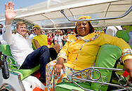 30-4-2015 BONAIRE - King Willem-Alexander and Queen Maxima of The Netherlands visits the Dia di Rincon at Bonaire, 30 April 2015. Dia di Rincon is an annual holiday in village Rincon with local cultural traditions. The king and queen attend in the morning an flag ceremony and taste some local products at the Stentenstraat. They leave by Tuk Tuk. COPYRIGHT Robin Utrecht