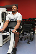 University of Arizona student, Chris Bryant, who is an Army veteran who served in Iraq from 2005-2006, works out at the campus Disability Resource Center.  Bryant is on the university's wheelchair basketball team in Tucson, Arizona, USA.
