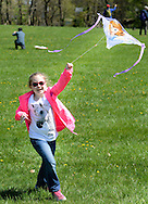 Evelyn Allen, 7, of Lansdale, Pennsylvania flies her kite <br /> during Kite Day Sunday April 24, 2016 at the Fonthill Museum in Doylestown, Pennsylvania. (Photo by William Thomas Cain/Cain Images)