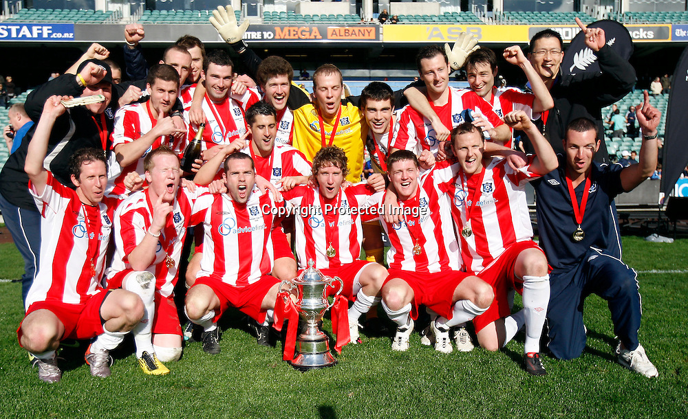 Miramar Rangers celebrate after winning the 83rd Chatham Cup Final 3 - 1 against Bay Olympic. 83rd Chatham Cup Final, Bay Olympic v Miramar Rangers, North Harbour Stadium, Albany, Sunday 12th September 2010. Photo: Shane Wenzlick/PHOTOSPORT