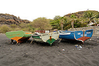 09 JAN 2006, SAO FELIPE/FOGO/CAPE VERDE:<br /> Fischerboote am schwarzen Lavastrand, in der Naehe von  Sao Felipe, Insel Fogo, Kapverdischen Inseln<br /> Fisherboats on the black Lava beach, near to Sao Felipe,  island Fogo, Cape verde islands<br /> IMAGE: 20060109-01-016<br /> KEYWORDS: Travel, Reise, Natur, nature, Meer, sea, seaside, K&uuml;ste, Kueste, coast, cabo verde, Dritte Welt, Third World, Kapverden, Fischfang, Schiff, meer, Sea,