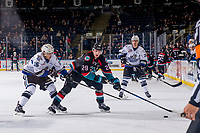 KELOWNA, CANADA - OCTOBER 5: Igor Martynov #15 of the Victoria Royals stick checks Nolan Foote #29 of the Kelowna Rockets as he skates with the puck during third period on October 5, 2018 at Prospera Place in Kelowna, British Columbia, Canada.  (Photo by Marissa Baecker/Shoot the Breeze)  *** Local Caption ***