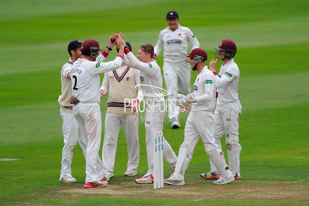 Dom Bess of Somerset celebrates taking the wicket of Jonathan Trott of Warwickshire in his debut county championship match for Somerset during the Specsavers County Champ Div 1 match between Somerset County Cricket Club and Warwickshire County Cricket Club at the Cooper Associates County Ground, Taunton, United Kingdom on 6 September 2016. Photo by Graham Hunt.