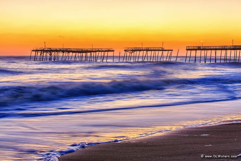 Avalon Fishing Pier in Kill Devil Hills on the Outer Banks after Hurricane Sandy collapsed parts of it.
