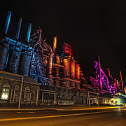 A few stars in the sky as the Blast Furnaces come alive with color.