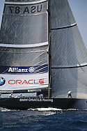 United States team BMW Oracle Racing secures rigging at end of America's Cup fleet race; Valencia, Spain.