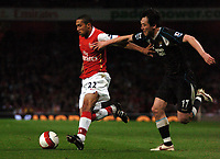 Photo: Tony Oudot.<br /> Arsenal v Manchester City. The Barclays Premiership. 17/04/2007.<br /> Gael Clichy of Arsenal goes past Sun Jihai of Manchester City
