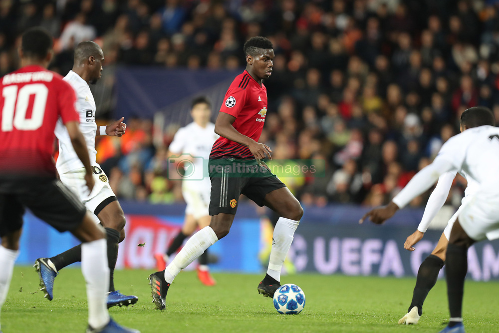 December 12, 2018 - Valencia, Spain - December 12, 2018 - Valencia, Spain - .Paul Pogba of Manchester United during the UEFA Champions League, Group H football match between Valencia CF and Manchester United on December 12, 2018 at Mestalla stadium in Valencia, Spain (Credit Image: © Manuel Blondeau via ZUMA Wire)