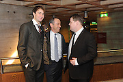 OLIVER CHRIS; NICHOLAS HYTNER; JAMES CORDEN,  Opening party to celebratethe adelphi Theatre  West End transfer of National Theatre's One Man, Two Guvnors. National Theatre. South Bank. London. 21 November 2011.  *** Local Caption *** -DO NOT ARCHIVE-© Copyright Photograph by Dafydd Jones. 248 Clapham Rd. London SW9 0PZ. Tel 0207 820 0771. www.dafjones.com.<br /> OLIVER CHRIS; NICHOLAS HYTNER; JAMES CORDEN,  Opening party to celebratethe adelphi Theatre  West End transfer of National Theatre's One Man, Two Guvnors. National Theatre. South Bank. London. 21 November 2011.
